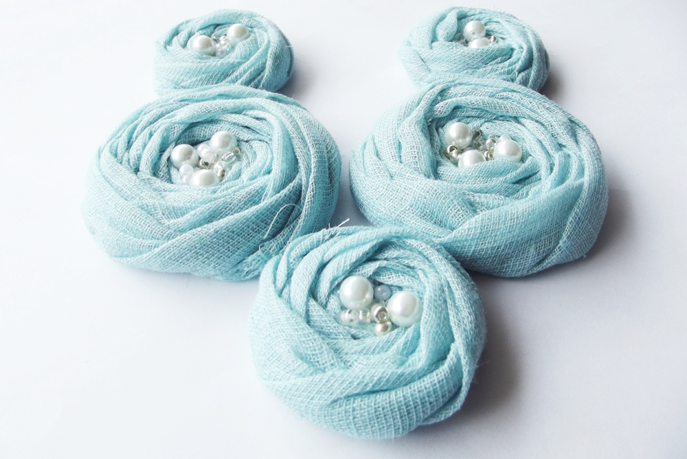 Blue Cotton Roses Handmade Appliques Embellishments(5 pcs)