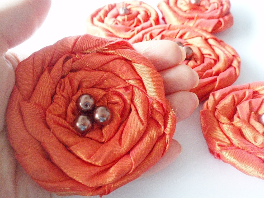 Orange Red Roses Handmade Appliques Embellishments(5 pcs) MADE TO ORDER
