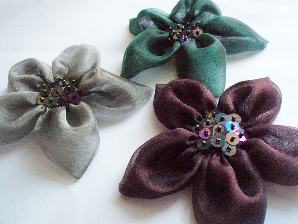 Emerald-Grey-Dark Burgundy Flowers Handmade Appliques Embellishments(3 pcs)